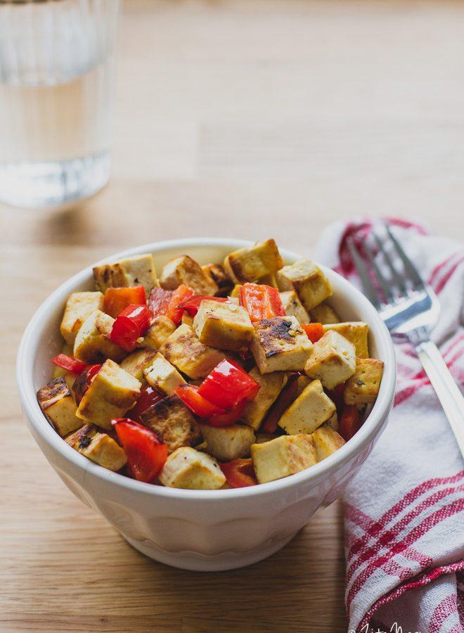 Ropogós pirított tofu kápia paprikával (laktózmentes, gluténmentes, vegán) + Smartchef szakácsrobot készülék