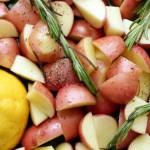 Citromos rozmaringos újkrumpli gombás spárgás raguval (laktózmentes, vegán)