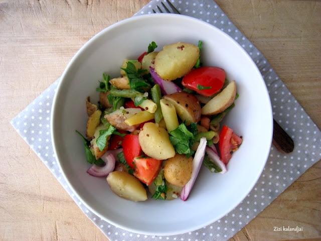 Zöldbabos újkrumpli saláta