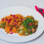 Török padlizsánragu gránátalmás fűszeres bulgursalátával (laktózmentes, vegán) + Török vegán főzőkurzus (beszámoló)