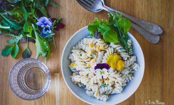 Majonézes zöldséges tésztasaláta (laktózmentes, vegán)